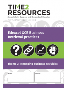 Edexcel GCE Business Theme 2 Managing Business Activities Retrieval Practice+ Workbook (pack of 10)