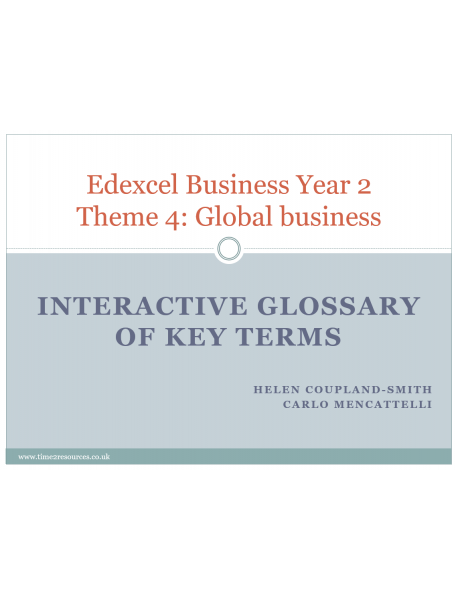 Edexcel GCE Business Theme 4 Interactive Glossary