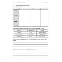 Cambridge Technicals Level 3 Business Unit 1 The Business Environment Activity Worksheets