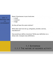 CAIE Topic 1 Business and its environment (AS Level) Multimedia Presentations