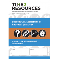 Edexcel GCE Economics B Theme 2 The wider economic environment Retrieval Practice+ Workbook (pack of 10)
