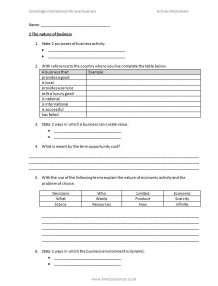 CIE International AS Level Business Activity Worksheets