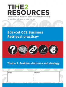 Edexcel GCE Business Theme 3 Business Objectives and Strategy Retrieval Practice+ Workbook (pack of 10)