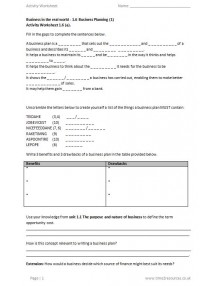 International GCSE Business 9225 Activity worksheets