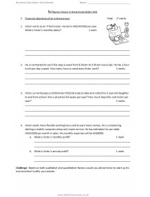 International GCSE Business 9225 Calculation worksheets