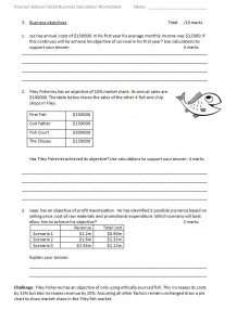International GCSE in Business 4BS1 Calculation Worksheets