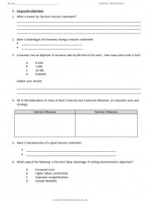 Pearson Edexcel International GCSE Business Activity Worksheets