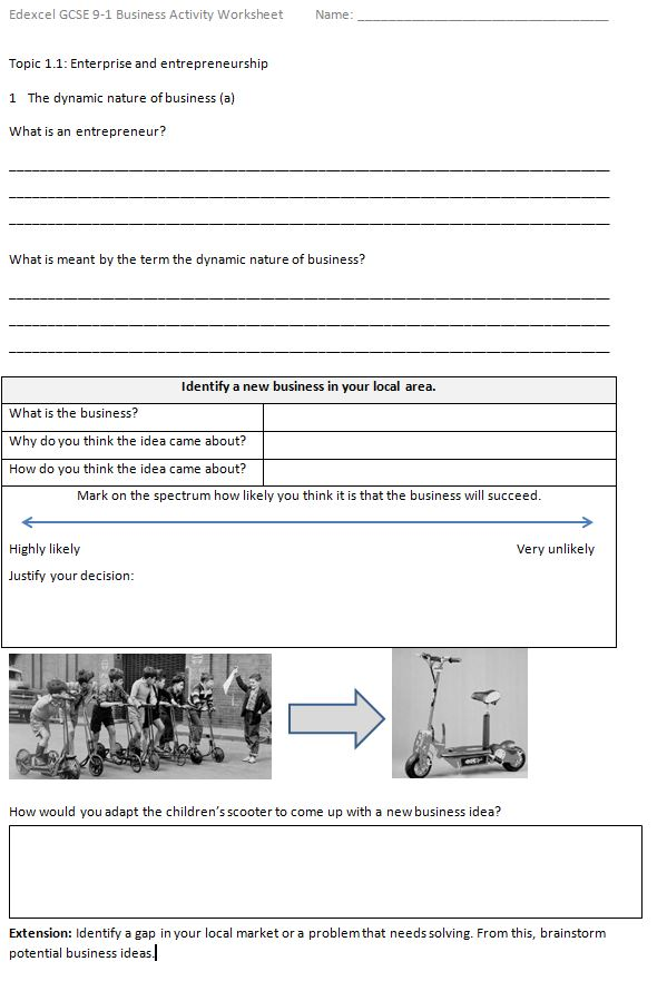 GCSE (9-1) Edexcel Business Activity worksheets